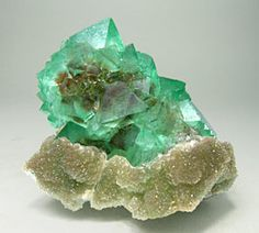 Octahedral Fluorite with Quartz - South Africa