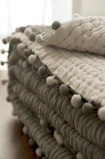 Ash Silk Pompom Quilt - modern - quilts - by Dia Living