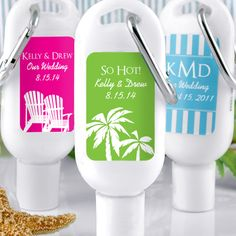 Personalized mini suncreens are wonderful wedding favors for a destination or beach wedding.