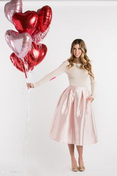 Midi Skirts, Pink Skirts for Women, Valentine's Day Outfit Inspiration #morninglavender #valentinesday