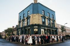 Group wedding guest portrait outside the city pub wedding venue - Image by Babb Photo - A London Autumnal wedding at the Londesborough pub in Stoke Newington with a bespoke wedding dress and photography by Babb Photo. Pub Wedding, London Wedding, Wedding Venues, Wedding Dress, Wedding Photos, Dream Wedding, Alternative Wedding Venue, London Pubs