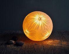 Pierced Fronds Porcelain Sphere Lamp