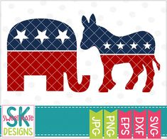 Today's Daily Deal: Get this USA Political Party Symbols SVG for only 50¢ until midnight tonight!  >>> https://www.sweetkatedesigns.com/products/usa-political-party-symbols-elephant-donkey-svg  #republican #democrat #elephant #donkey #politicalparty #usa #dxf #eps #SweetKateDesigns #htv #cricut #silhouette #cutfile #svg #cricutexplore #silhouettecameo