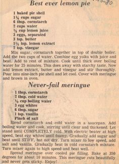 Recipe Clipping For Best Ever Lemon Pie: