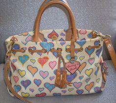 Dooney Bourke Multi Color Heart Leather Tassel Hobo Shoulder Bag | eBay