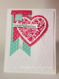 Flowerfull Heart Valentine's Day Card with stretch ruffled ribbon. Inkypinkies, Stampin' Up! Valentine Love Cards, Valentine Images, Card Making Inspiration, Making Ideas, Beautiful Handmade Cards, Cards For Friends, Heart Cards, Pretty Cards, Scrapbook Cards