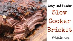 Slow Cooker Beef Brisket Keto: This is a simple slow cooker beef brisket recipe with onions and mustard can be made in the morning and by the time you get home, dinner is ready. Slow Cooker Brisket, Beef Brisket Recipes, Pulled Pork Recipes, Braised Brisket, Smoked Brisket, Onion Recipes, Meat Recipes, Slow Cooker Recipes, Crockpot Recipes