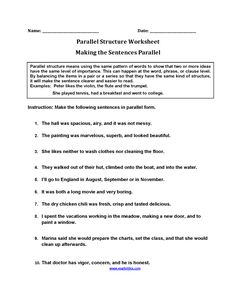 Rewriting Sentences Parallel Structure Worksheets | Grammar ...