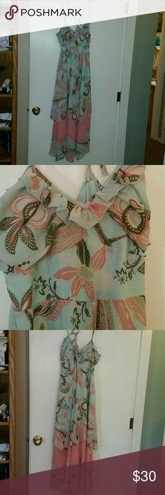 Mint green and coral chiffon dress Mint green and coral chiffon spaghetti strap dress H&M Dresses Maxi