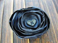 Navy blue handmade Satin hair clip with heart button center. $5.00,    https://www.etsy.com/shop/spcreationz #blue #hair #flower #handmade #heart #navy