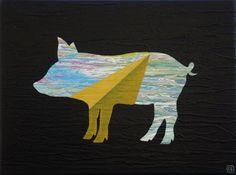 To the Moon and Back by Will Eskridge @zatista #contemporaryart #artforsale #pig #minimalism #surrealism #homedecorating #wallart #interiordecorating #modernart #orginalart #animalart #buyartnotanimals