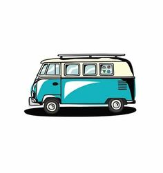 Road Trip by Kyle Steed from Tattly Temporary Tattoos. Fake tattoos by real artists! Vw Caravan, Vw Camper, Campers, Meister Yoda, Bus Drawing, Combi Wv, Desenho Pop Art, Bus Art, Retro