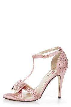 Check it out from Lulus.com! Go girly this time around with the ever-so-lovely Luichiny Piper Zoe Blush Satin Rhinestone T-Strap Heels! Blush pink satin T-straps are absolutely covered in sparkling pink rhinestones, from the pink and ivory layered bow on the vamp to the elegantly cupped heel. T-strap connects to a wraparound ankle strap, which adjusts with a shiny gold buckle (and hidden elastic). 4