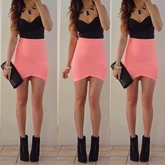 Dress: black crop top pink skirt little black party salmon pink tight. Backless Maxi Dresses, Maxi Dress With Sleeves, Sexy Dresses, Casual Dresses, Mini Dresses, Sheath Dress, Strapless Dress, Bodycon Dress, Bandage Skirt