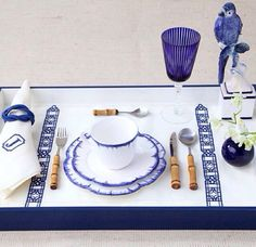 Beautiful monogrammed and embroidered blue and white table linens.