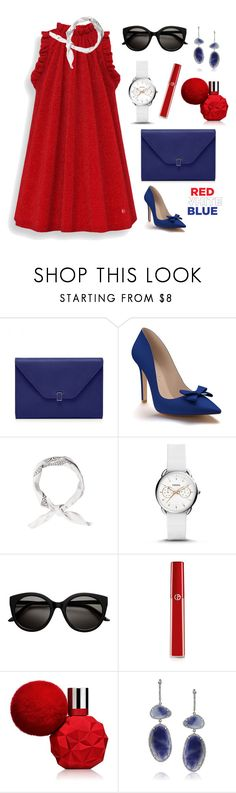 """""""Red-White-Blue #2"""" by ariniagustriani ❤ liked on Polyvore featuring Shoes of Prey, FOSSIL, Giorgio Armani and Mark Broumand"""