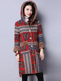 Sale 12% (51.29$) - Vintage Printing Hooded Plus Velvet Long Sleeve Loose Women Coat