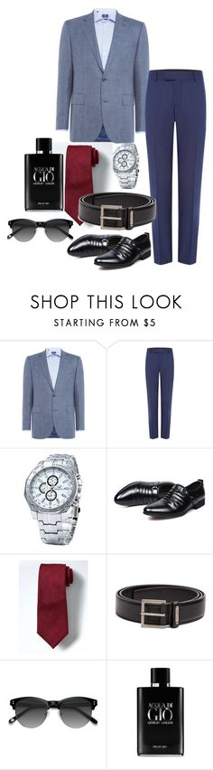 """Mr head turner"" by niki-row ❤ liked on Polyvore featuring Chester Barrie, Simon Carter, Banana Republic, Yves Saint Laurent, Ace, Giorgio Armani, men's fashion and menswear"