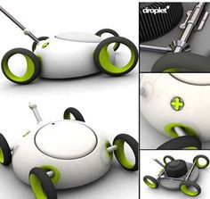 Droplet - new electric mower.  Ultra efficient and a space saver in the garage.  No lawn bag required...stores grass in mower. Pretty cool.