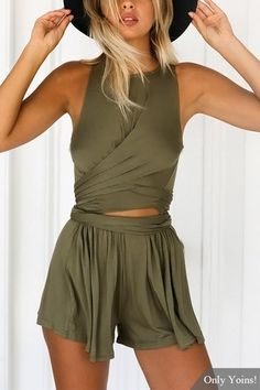 Sweet Drawing Waist Cross Front Playsuits in Army Green from mobile - US$11.95 -YOINS