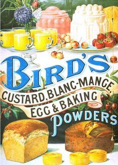Bird's, Custard Blancmange Egg & Baking Powders, UK Retro Advertising, Vintage Advertisements, Retro Ads, Retro Recipes, Vintage Recipes, Vintage Labels, Vintage Posters, Vintage Packaging, Vintage Ephemera