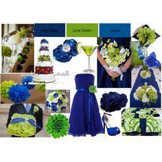 light blue cobalt and lime green wedding - Google Search