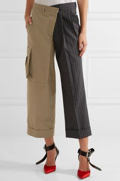 Monse - Paneled Cotton-twill And Pinstriped Wool Wide-leg Pants - Charcoal - US10