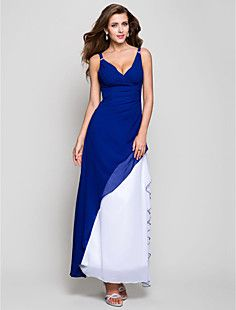 A-line V-neck Ankle-length Chiffon Evening Dress – USD $ 129.99