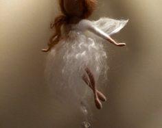 Nadel gefilzte Fee Waldorf inspirierte Wolle White von DreamsLab3