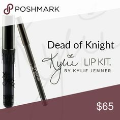 ❤Last One❤Kylie Lip Kit 💄Dead of Knight 💄 [NO TRADES]   Contains: 1 Matte Liquid Lipstick (0.11 fl oz./oz. liq / 3.25 ml) and 1 Pencil Lip Liner (net wt./ poids net  .03 oz/ 1.0g)  The #KylieLipKit is your secret weapon to create the perfect 'Kylie Lip.' Each Lip Kit comes with a Matte Liquid Lipstick and matching Lip Liner. Dead of Knight is an intense true black. Kylie Cosmetics Makeup Lipstick