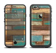 The Colored Vintage Solid Wood Planks Apple iPhone 6/6s Plus LifeProof Fre Case Skin Set from DesignSkinz
