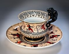 Antique china - porcelain cup and saucer from the Etruscan service of the Peterhof palace