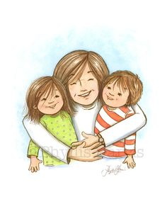 Image result for cartoon images of stick mom hugging kids