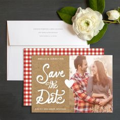 Kraft Gingham Save The Date Cards by Two If By Sea Studios   Elli
