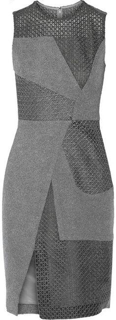 Prabal Gurung Paneled wool-blend bouclé dress
