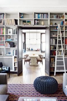 Bookshelf built around the door with bookshelf ladder in living room