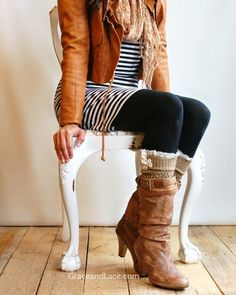 boot socks, riding boots, leather jacket, black and white stripes, tights