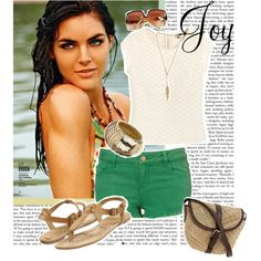 A fashion look from April 2012 featuring shirt top, denim hotpants and flat thong sandals. Browse and shop related looks. Preppy Style, Style Me, Green Shorts, What To Wear, Streetwear Brands, Spring Summer, Luxury Fashion, Fashion Design, Clothes