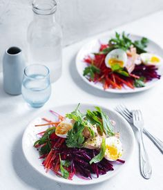 Smoked trout, carrot and beetroot salad  This salad is a super-fast and simple way to counter Christmas overindulgence. Swap the smoked trout for a couple of generous slices of Christmas ham after the big day celebrations.http://GourmetSifu.com  Click on the image to continue reading #finedining   #gourmet