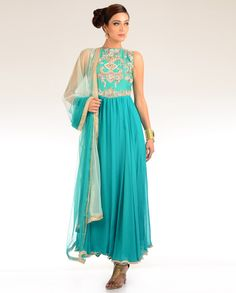 Turquoise Kalidar Suit with Sequins and Pearls Embellished Yoke