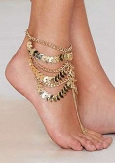 Retro Multi-layer Ankle Bracelet Delicate Leaf Pattern Thin Chain Anklet Bracelet # 20948