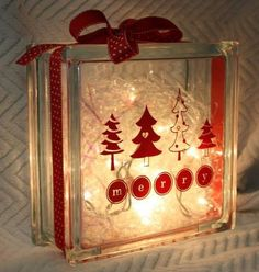 Idea - Cricut Vinyl Projects using a glass block Christmas Glass Blocks, Christmas Vinyl, Christmas Projects, Holiday Crafts, Holiday Decor, Christmas Signs, Xmas, Christmas Ideas, Merry Christmas