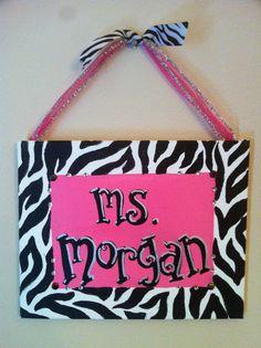 Zebra Teacher Classroom Sign custom personalized on by KellsArt