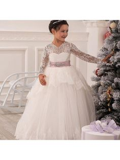 Long Sleeves Lace Tulle Princess Ball Gown Flower Girl Dresses 5501037
