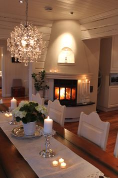 Love the fireplace faced toward the dinning room and kitchen
