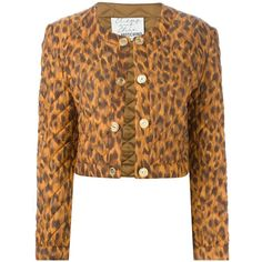 Moschino Vintage Cropped Leopard Print Jacket ($536) ❤ liked on Polyvore featuring outerwear, jackets, blazers, daisy cleveland, brown, moschino blazer, brown quilted jacket, moschino jacket, quilted blazer and cropped blazer