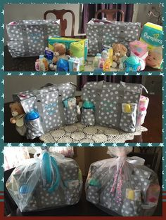 Zip Top Organizing Utility Tote as a diaper bag.  Great baby shower gift.