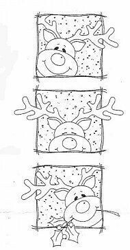 Peeking Rudolph Squares Rubber Stamp - this reindeer makes me smile! Noel Christmas, Christmas Colors, Winter Christmas, Christmas Squares, Christmas Patterns, Reindeer Christmas, Christmas Design, Christmas Projects, Christmas Crafts