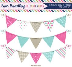 Pink and Blue Bunting Clipart Set Instant Download Commercial Use Clip Art Graphics