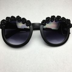 New York Matte Black Flower Sunglasses by ObsessedShades on Etsy